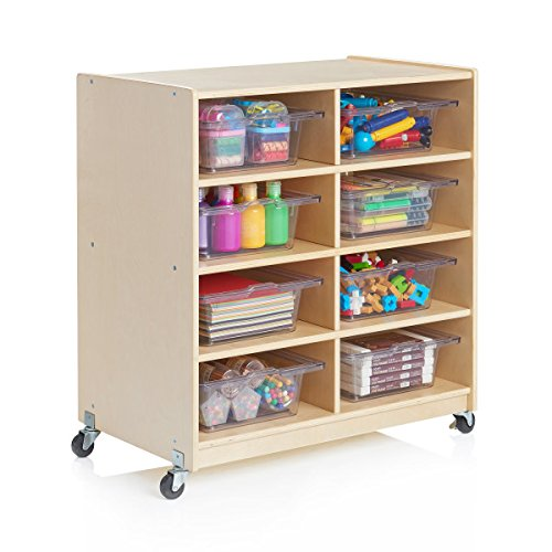 Guidecraft Wooden 8 Shelf STEM Storage Unit - Rolling Science, Art Storage Cubby and Organizer, Kids Classroom Furniture, School Supply