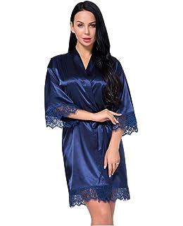Aibrou Damen Morgenmantel Kimono Kurz Satin Robe Bademantel V Ausschnitt mit G/ürtel f/ür Braut Hochzeit Damen Geschenk Wellness Junggesellenabschied