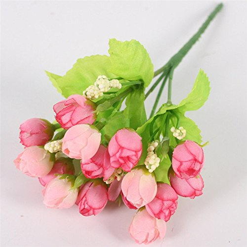 Autumn 15 Heads/Bouquet Small Bud Roses Bract Simulation Flowers Silk Rose Decorative Flowers Home Decorations For Wedding A Pink