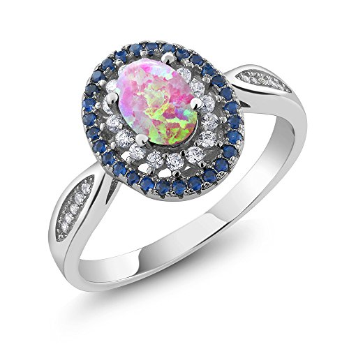1.23 Ct Oval Cabochon Pink Simulated Opal 925 Sterling Silver (Gold Opal Emerald Ring)