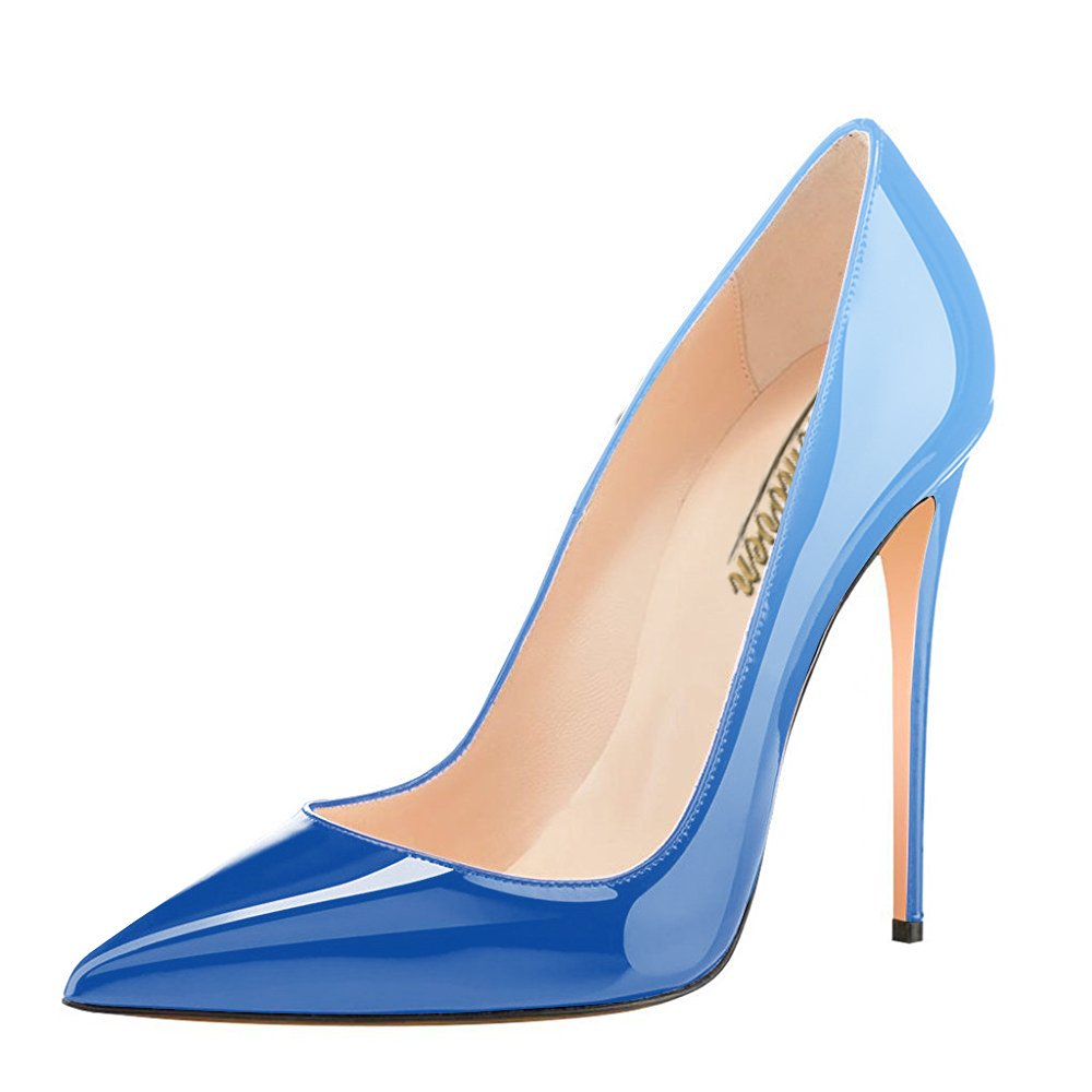 Modemoven Women's Pointy Toe High Heels Slip On Stilettos Large Size Wedding Party Evening Pumps Shoes B07288BKJW 11 B(M) US|Sky Blue
