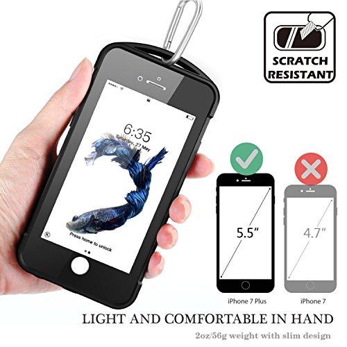 iPhone 7 plus/8 plus Waterproof Case, Temdan SUPREME Series Waterproof Case with Carabiner Built in Screen Protector Outdoor Rugged Shockproof Case for iPhone 7 plus and iPhone 8 plus(5.5 inch) by Temdan (Image #4)