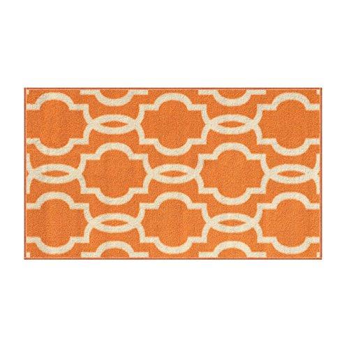 Kapaqua Rubber Backed Fancy Moroccan Doormat Accent Non-Slip Rug, 18 W x 32 L, Trellis Orange & Ivory