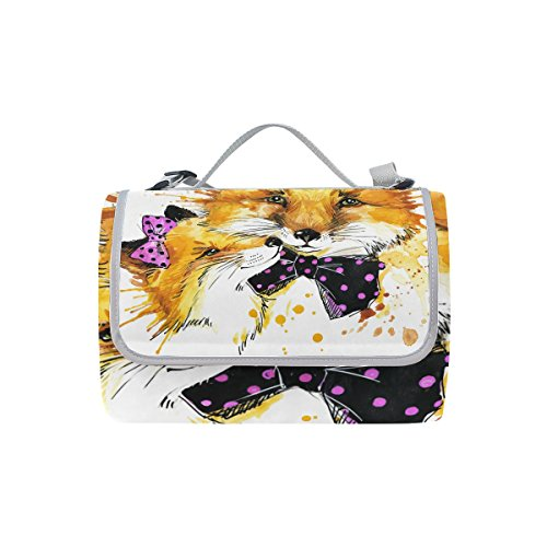 Coosun Funny Fox Couverture de pique-nique Sac pratique Tapis résistant aux moisissures et étanche Tapis de camping pour les pique-niques, les plages, randonnée, Voyage, Rving et sorties