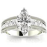 1.6 CTW Antique / Vintage Style Channel Set Round Diamond Engagement Ring with Milgrain w/ 1 Ct GIA Certified Marquise Cut G Color SI1 Clarity Center