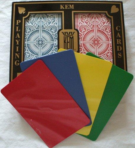 2 Free Cut Cards + KEM Arrow Red Blue Playing Cards Bridge Size Regular Index