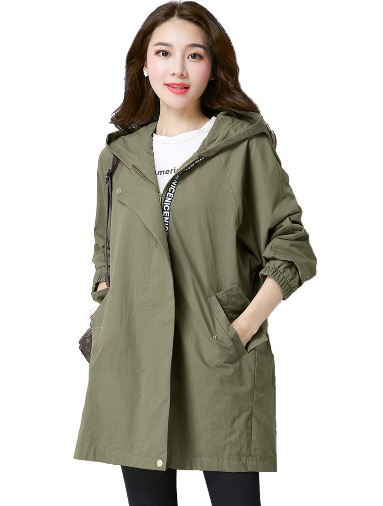 Mordenmiss Women's Spring/Fall Drawstring Cotton Trenchcoat with Pockets