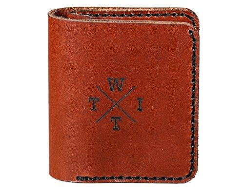 EWITT Leather Slim Bifold Coin Wallet Handmade Wallet (Brown)