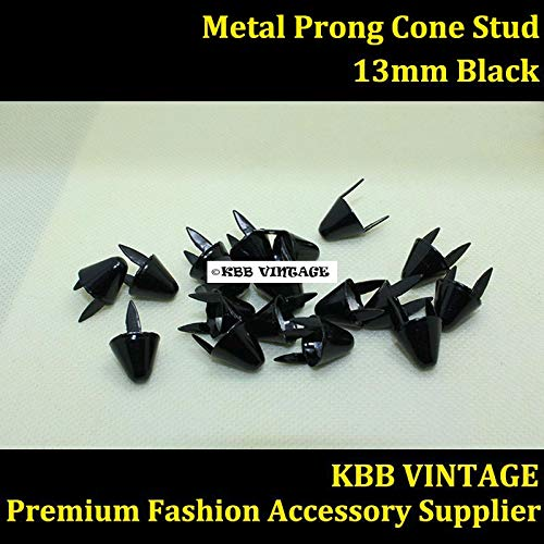 Garment Rivet - Punk DIY Metal Round Cone Stud 13mm in Black with 2 Prongs for Leather Craft/Bag/Shoe/Clothing/Cap/Jacket
