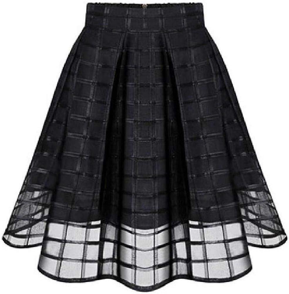 Nobrand Faldas de Mujer Faldas de Organza Negras Cremallera Falda de Cintura Alta Falda de Tul de Mujer Casual Kawaii Estudiante Elástico Sexy