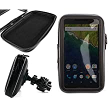 "DURAGADGET 6.3"" Black Water-Resistant Smartphone Case With Adjustable Bicycle Mount - Compatible with the Google Nexus 6 / 6P Smartphones"