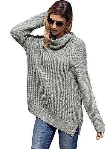Hem Con E A Split Europee Da Donna Maglione Alto Ed Design Gray Collo Lunghe Pullover Maniche Americane zwOxSYxn
