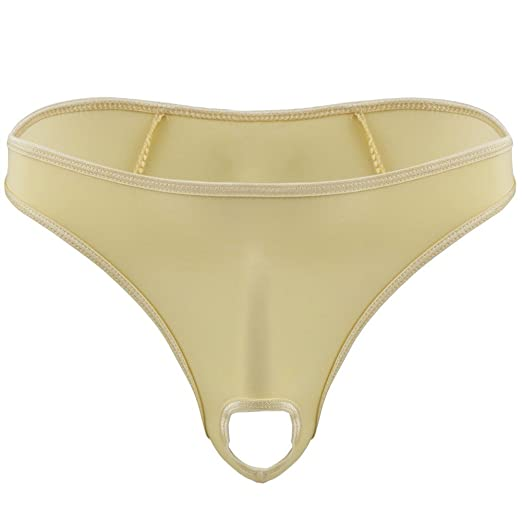 0d2056ae36d5 Freebily Sexy Mens Smooth G String Thongs Open Front Bikini Briefs Underwear  Beige Medium(Waist