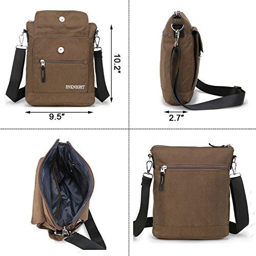 Crossbody Coffee Women handbags ENKNIGHT Shoulder Travel Purse Nylon for Bag SqwfRxv