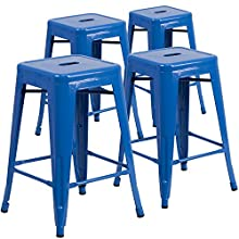 Flash Furniture 4 Pk. 24'' High Backless Blue Metal Indoor-Outdoor Counter Height Stool with Square Seat