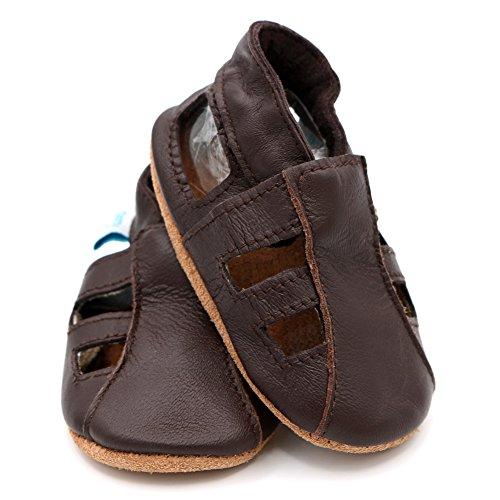 Dotty Fish - Zapatos de cuero suave para bebés - Sandalias para niños y niñas - Recién nacidos a 3-4 Años Marrón