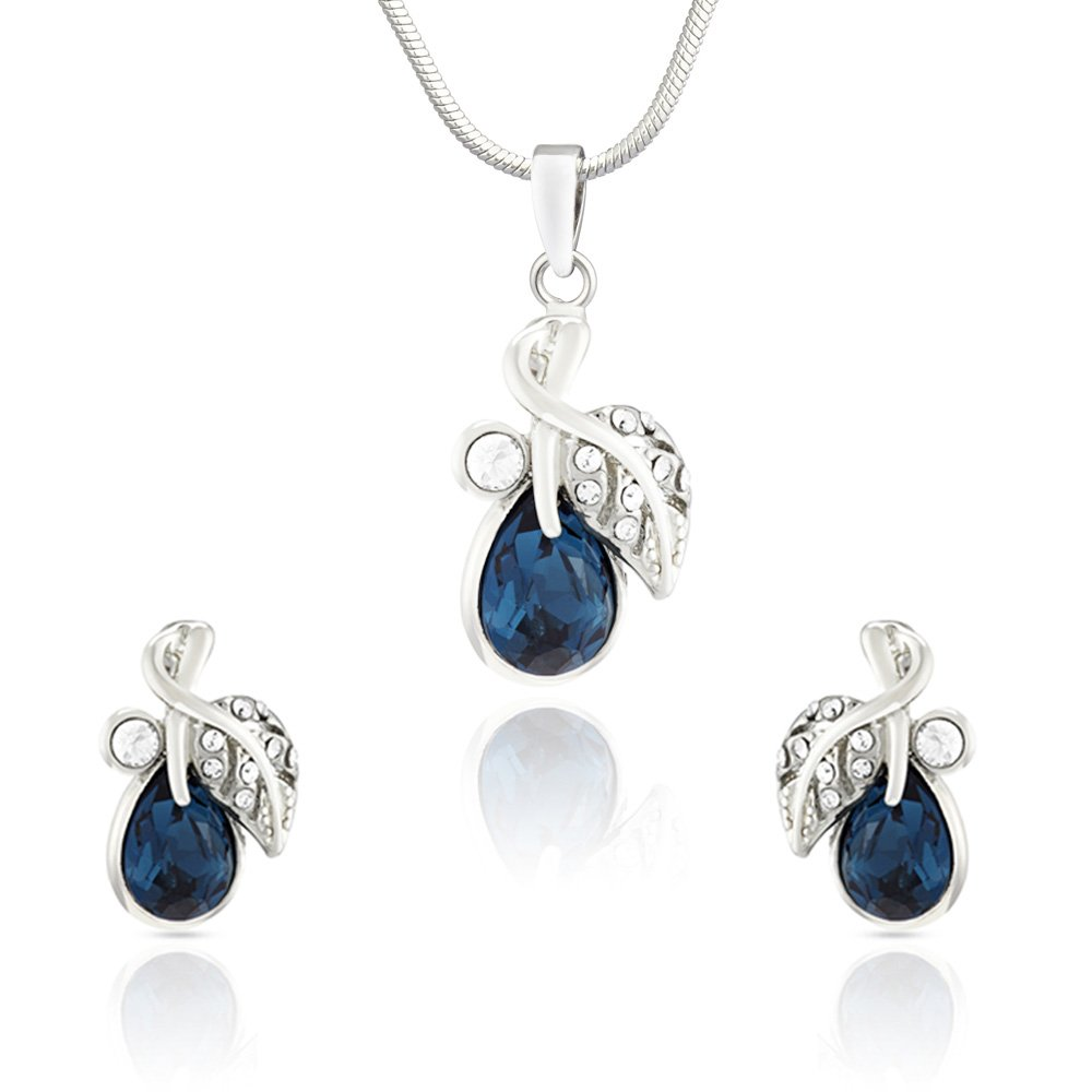 9e5391a833a4 Buy Mahi Valentine Rhodium Plated Montana Blue berry Marquise Pendant Set  Made with Swarovski Elements for Women NL1104107RBlu Online at Low Prices  in India ...