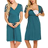 The Best Easter Gift!!!Aries Esther Mother Nursing Nightgown Pregnancy Dress Lace Splice Maternity Dress