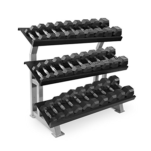 WF Athletic Supply 1200lb Rubber Hex Dumbell Set With Rack (5-75lb) by WF Athletic Supply