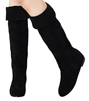 Sfnld Women's Over Knee High Suede Flat Shoes Boots Black 10 B(M) US