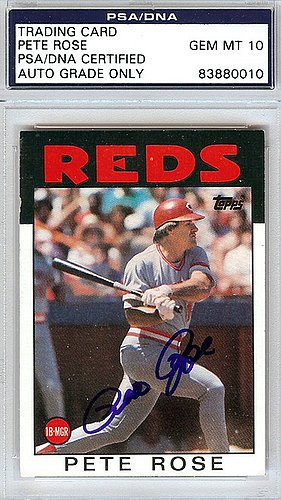 1986 Topps Autographed Card - Pete Rose Signed 1986 Topps Trading Card #1 Cincinnati Reds Gem Mint 10 - PSA/DNA Authentication - Autographed MLB Baseball Cards