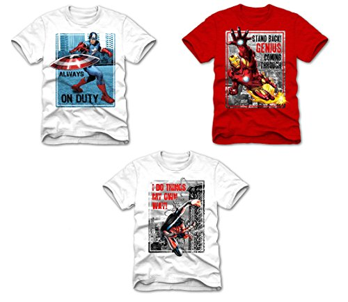Superhero Marvel T- Shirts for Boys, Pack of 3 (Medium (8), Spiderman I Do Things, White + Ironman Stand Back, Red + Captain America Always on Duty, White)