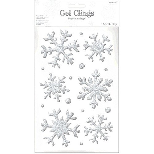 Amscan Snowflake Glitter Gel Cling, 16 Ct. | Christmas Decoration ()