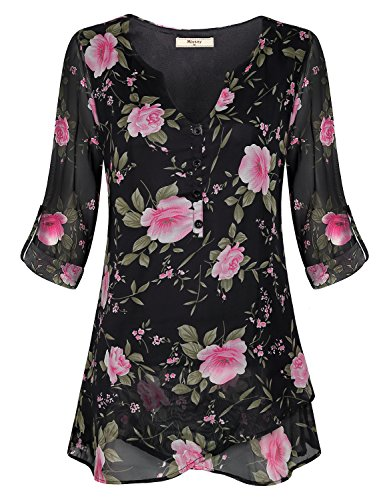 Miusey Floral Tops For Women, Ladies 3/4 Sleeve Deep V Neck Frills Button Detail Trapeze Asymmetrical Hem Tiered Printing Patterned Fall Petite Comfort Gauzy Blouse Black L (Three Sleeve Top Tiered)