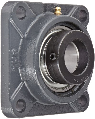 "Hub City FB220URX1-3/8 Flange Block Mounted Bearing, 4 Bolt, Normal Duty, Relube, Eccentric Locking Collar, Narrow Inner Race, Cast Iron Housing, 1-3/8"" Bore, 1.945"" Length Through Bore, 3.622"" Mounting Hole Spacing"