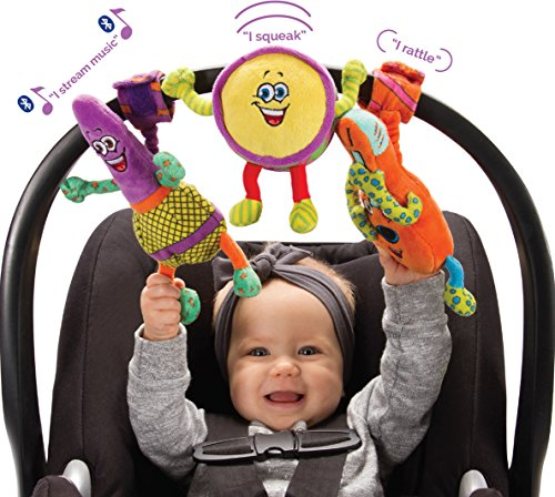 Lil' Jammerz Set of 3 Plush Baby Toys: Includes a Bluetooth Speaker, Downloadable App That Streams Music or White Noise, a Rattle & Squeaky Toy - All Attach to a Car Seat, Stroller or Carrier -
