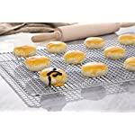 "Hiware Cooling Rack for Baking - 11.8"" x 16.5"" - Stainless Steel Wire Cookie Rack Fits Half Sheet Pan, Oven Safe for Cooking, Roasting, Grilling 13 SOLID STAINLESS STEEL GRID CONSTRUCTION - Hiware's cooling rack is made of high quality [GRADE] stainless steel that is made to last for years. The tight grid design gives stability to the rack, which makes it easy to balance baked goods, meats, fruits, and vegetables without the possibility of them falling through the slats. OVEN AND GRILL SAFE - This commercial-grade rack resists heat up to 575 degrees Fahrenheit making it perfect for use in the oven or grill. This versatile rack is the perfect complement to any kitchen and holds up to 20 pounds of food without sagging or bending. PERFECT SIZE - Measuring 11.8""x16.5"", the Hiware rack fits inside a half sheet (13""x18"") cookie pan or comfortably on a countertop. After use, it is easy to store in your cabinet or drawer."