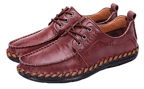 Agowoo Mens Tide Slip On Mocassini Scarpe Stringate Casual In Pelle Wine_red_lace_up