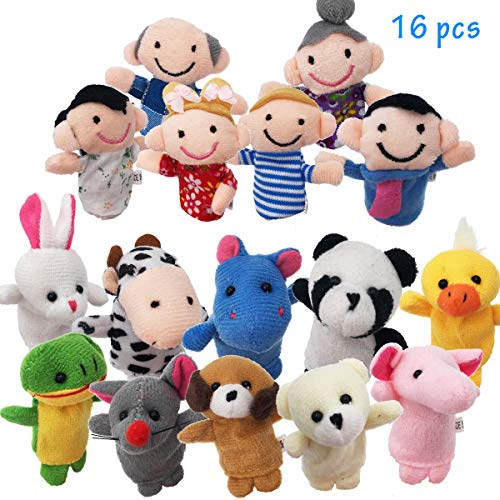 (URUTOREO Finger Puppets Set, 16 Pcs -10 Animals and 6 People Family Members Story Time Velvet Puppets Toys for Children Kids Toddlers School Playtime Show Gift)