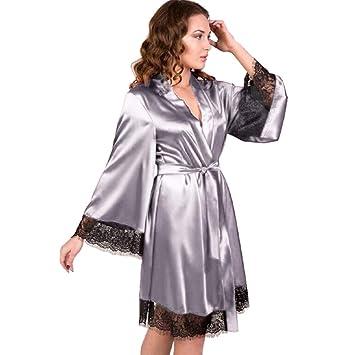Malloom Batas Sexy Mujer, Vestido de Kimono de Seda para Mujer Babydoll Encaje lencería Sexy bañador de baño Ropa de Dormir Pijamas Batas Camisón Dormir: ...
