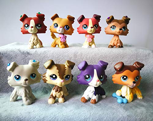 LPSTREE LPS Collie Set 58 Raised Paw 2452 1262 893 1676 363 2210 1542 Puppy Lot with Accessories Lot Bows Collection Toy Figure Girls Boys Gift 8 PCS ()