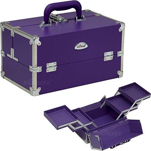 Price comparison product image Sunrise Purple Vinyl Professional Makeup Beauty Train Case with 2-Tiers Expandable Trays - C3026