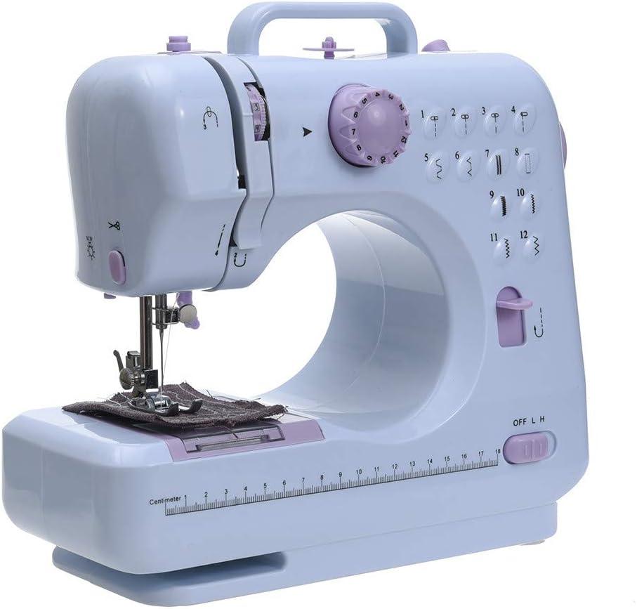 KOUPA Máquina de coser eléctrica con 12 puntas, doméstica portátil, fácil de usar para principiantes Pink Sew 2 Speed  con actualización, máquina de manualidades para principiantes