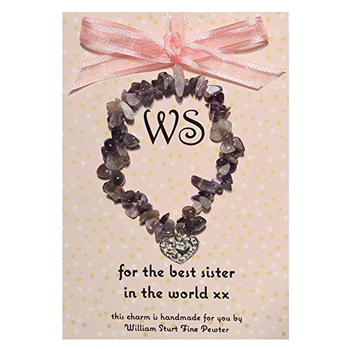 Magnifique Grosse Améthyste Best Sister Bracelet avec charm en forme de cœur en étain fait main, par William Sturt