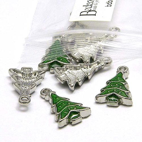 10 Silver & Green 3/4 inch Christmas Tree Drop Charms Plated Pewter Base Metal