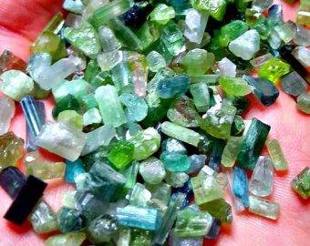 1 Gram Green and Blue Tourmaline Crystals For Wire Wrapping and Jewelry/ Collection