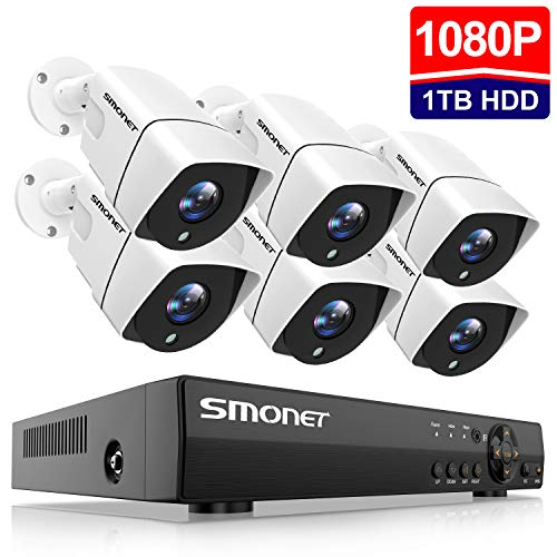 [Full HD] Security Camera System Outdoor,SMONET 8 Channel 1080P Home Security System(1TB Hard Drive),6pcs 2MP Weatherproof Security Cameras,65ft Night Vision,P2P, Remote View,Free APP