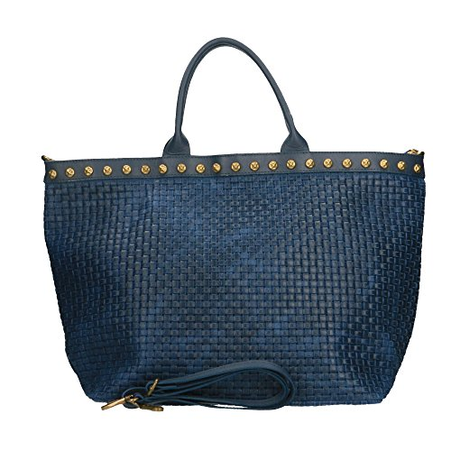 Bleu à cuir in Borse imprimé cuir Made 53x34x20 avec en bandoulière main véritable tressé Chicca Sac Cm en Italy FqUUd