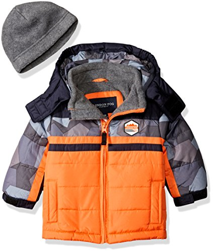 london-fog-baby-classic-heavyweight-color-block-bubble-jacket-with-hat-orange-24-months