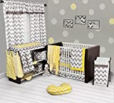 Bacati Ikat Chevron Muslin 10 Piece Crib Set with Bumper Pad, Yellow/Grey