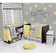 Bacati Ikat Chevron Muslin 10 Piece Crib Set with Bumper Pad, Yellow/Grey
