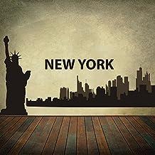 The Big Apple - New York City Skyline Wall Decal Vinyl Wall Art Skyline Sticker (M,B)