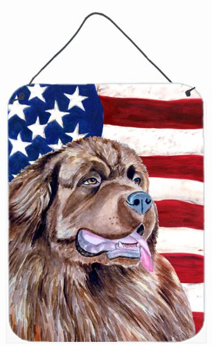 Carolines Treasures USA American Flag with Newfoundland Aluminium Metal Wall or Door Hanging Prints Multicolor 16 x 12