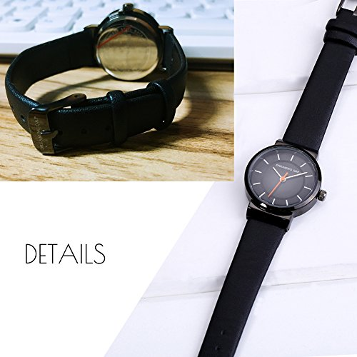 Women's Black Leather Dress Watch,Simple Style Casual Small Wrist Watches for Woman WD260 by DREAMING Q&P (Image #4)
