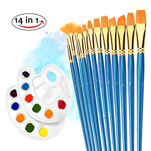 Paint Brushes, Atmoko 12 Pieces Nylon Artist Painting Brush Set with 2 Palettes for Watercolor, Acrylic and Oil Paintings, Perfect for Painting Canvas, Ceramic, Clay, Wood, Models(Kids and Adults) from Atmoko