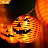 WmBetter Pumpkin String Lights Detachable Polyester Halloween Pumpkin Lanterns with 10 LED lights for Halloween Decoration